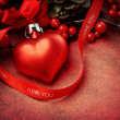 Textured heart shaped Christmas ornament with 'I love you' text - 图库照片