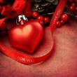 Textured heart shaped Christmas ornament with 'I love you' text — Stock Photo