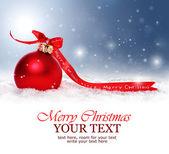 χριστούγεννα φόντο με κόκκινο μπιχλιμπίδι, το χιόνι και νιφάδες χιονιού — Φωτογραφία Αρχείου