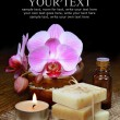 Spa aromatherapy setting, orchids and handmade soap bars - Stok fotoğraf