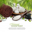 Spa massage border background with towel, compress balls and bamboo - Stock Photo