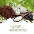 Spa massage border background with towel, compress balls and bamboo — Stock fotografie