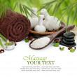 Spa masaż granicy tła z ręcznikiem, kompresji, kulki i bambusowe — Zdjęcie stockowe