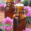 Aromatherapy bottles with pink flowers - Stock Photo