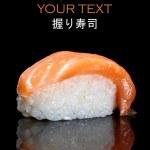 Nigiri sushi - Japanese cuisine with sushi rice and fresh salmon — Stock Photo