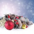 Christmas background with ornament, garland and snowflakes — Stock Photo