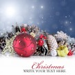 Christmas background with red ornament, garland and snowflakes — Stock Photo #32459219