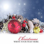 Christmas background with red ornament, garland and snowflakes — Stock Photo