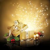 Christmas surprise gift box — Stock Photo