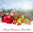 Christmas background with a red ornament, — 图库照片