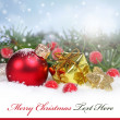 Christmas background with a red ornament, — Lizenzfreies Foto
