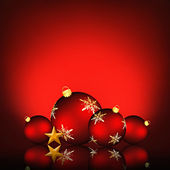 Christmas background with an illustration of red snowflake baubles — Stock Photo