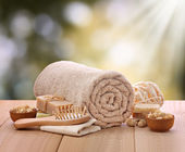 Spa setting with rolled towel — Stock Photo
