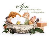 Spa bath kit or sauna toiletries set in basket — Stock Photo