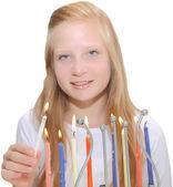 Chanoeka-kaart - jonge joodse meisje met de kaarsen — Stockfoto