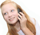 Happy Teenager girl with Mobile Phone — Stock Photo