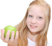 Healthy lifestyle - Young blond girl smiling — Stock Photo