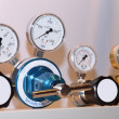Closeup of manometer, pipes and faucet valves — Stock Photo