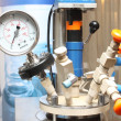 Closeup of manometer, pipes and faucet valves — Stock Photo #25943511