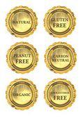 Gluten free, peanut free, carbon neutral, natural, cholesterol free, organic — Stock Photo