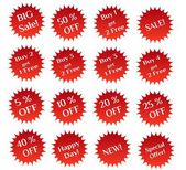 Set of red sale stamps — Stock Photo