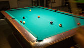 Billiard table with balls — Stock Photo