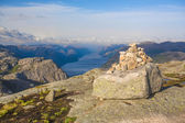 Pyramid, built by tourists at Preikestolen track — Stockfoto