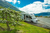 Motorhome (camper, caravan) trip in Norway — Stock Photo