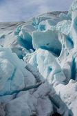 Svítí led záře ledovec nigardsbreen (norsko) — Stock fotografie