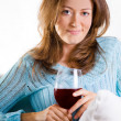 Attractive Woman Relaxing With A Glass Of Wine — Stock Photo