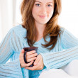 Attractive Young Woman Relaxing With Her Coffee — Stock Photo