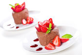 Chocolate Mousse Dessert With Strawberries — Stock Photo