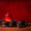 Candle And Pine Cones — Stock Photo