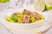 Curry Rice And Sausages — Stock Photo