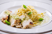 Pasta With Chicken fillet — Stock Photo