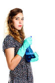 Young housewife cleaner. Over white background — Stock Photo