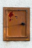 Closeup metalen deur met vergrendeling in grungy stijl — Stockfoto