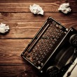 Vintage typewriter and blank sheet of paper, retouching retro — Stock Photo #27295163