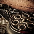 Macro picture of old typewriters, retouching retro — Stock Photo #27295167