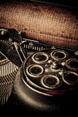 Macro picture of old typewriters, retouching retro — Stock Photo