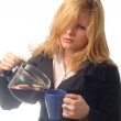 Woman coffee cup isolated close up portrait — Stock Photo #27497369