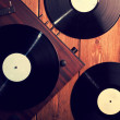 Old phonograph and gramophone records, retouching Vintage — Stock Photo