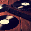 Stock Photo: Old phonograph and gramophone records, retouching Vintage