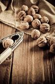 Walnuts on wooden boards — Zdjęcie stockowe