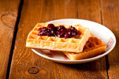 Waffles with jam, on the boards — Stock Photo