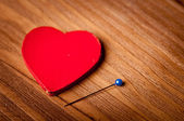 Heart lying on the stage, the concept for valentine's day — Stock fotografie