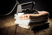 Old electric iron, touch-up in retro style — Photo