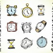 Stock Vector: Set of clocks