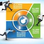 3 etap przepływu pracy zmiana barw — Wektor stockowy