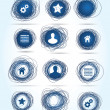 Royalty-Free Stock Vector Image: Free-drawn circular business icons in blue